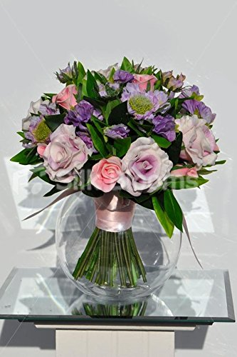 Diseño de rosas rosa pálido arreglo floral con follaje en pecera Jarrón