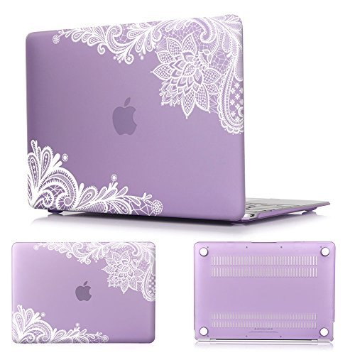 Batianda(TM) AIR 13-inch Lace Rubberized Hard Case for MacBook Air 13.3 (A1466 & A1369) (Newest Version) Shell Cover - Violet