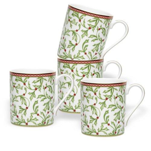 Mikasa Holiday Holly (Mikasa Holiday Traditions Mugs, Set of)