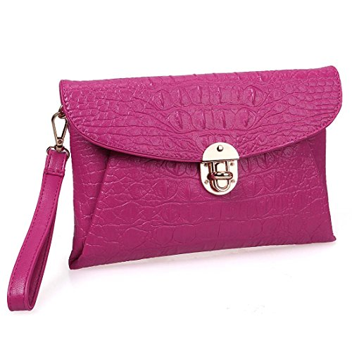 Crocodile Skin Bags (BMC Womens Bright Magenta Faux Crocodile Skin Textured PU Leather Envelope Flap Fashion Clutch)