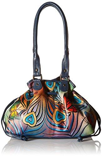 - Anna by Anuschka Genuine Leather Draw-String Tote Handbag | Hand-Painted Original Artwork | Flying Peacock