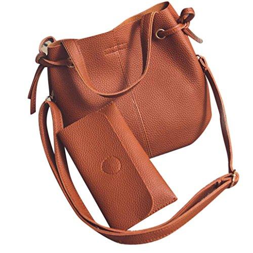 a92694496c8b Mosunx(TM) Women Leather Handbag Crossbody Shoulder Bag+Clutch Wallet  2Pcs Set (Brown)