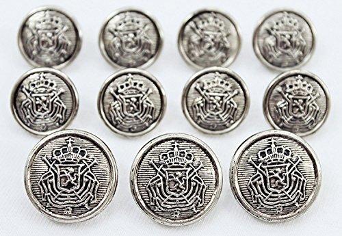 New Antiqued Silver Toned Metal  Heraldic Lion Crest  Sport Coat Blazer Button Set   Metalblazerbuttons Com