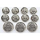 New ANTIQUED SILVER Toned METAL ~HERALDIC LION CREST~ Sport Coat BLAZER BUTTON SET ~ METALBLAZERBUTTONS.COM