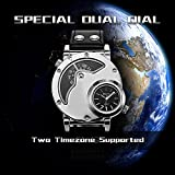 Mens Large Face Dual Time Unique Quartz Analog Wrist Casual Watch with Stainless Steel Case, Comfortable PU Leather Band, Two Time Zone Supported - Silver