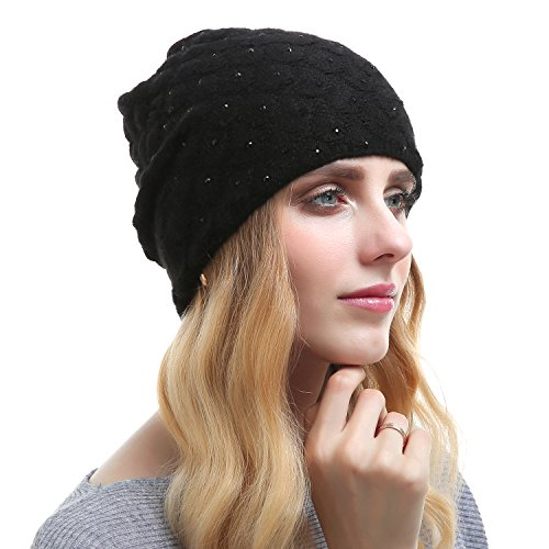 Queenfur Womens Wool Hat - Winter Cashmere Caps Oversized Beanies With Rhinestones Ski Hats (Black) Black Oversized Rhinestone
