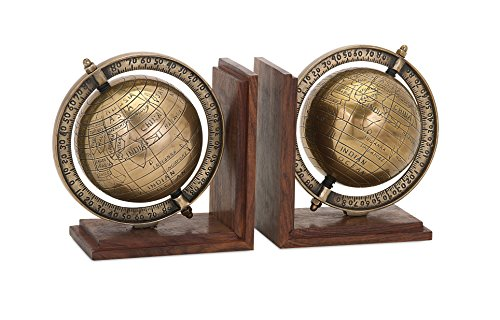 Globe Bookends (Set of 2), 5 x 7.5 x 7.5