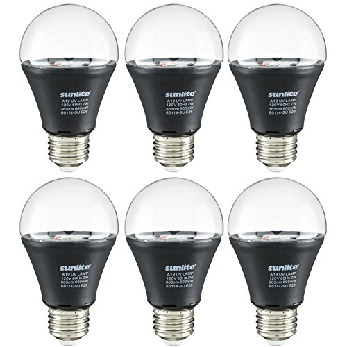 Sunlite 40741-SU A19/LED/2W/BLB/6PK LED UV 2W A19 Blacklight Blue Bulb with E26 Medium Base, 6 Pack, Piece ()