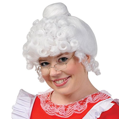 [Fun-Filled Christmas and Holiday Party Mrs  Claus Wig , White, Synthetic Fiber , Pack of 1] (Santa And Mrs Claus Costumes)