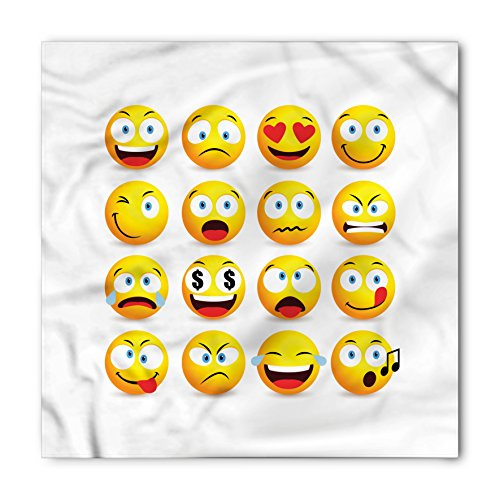 Ambesonne Emoji Bandana, Smiley Faces Composition, Unisex Head and Neck Tie