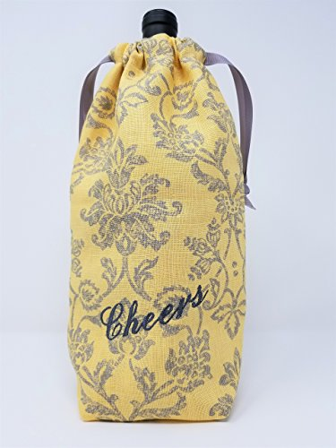 "Wine Bag ""Cheers"" Yellow & Gray Damask Print - American Made"