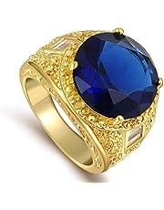 للرجال خاتم ذهب مطلي 18k مع حجر كريم الياقوت الأزرق مقاس 8