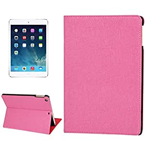 Lines Texture Leather Case with 3 Gears Holder & Sleep / Wake-up Function for iPad Air (Magenta)