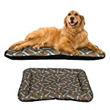 Cheap Dog Crate Pad Bolster Bed Pet Mat Waterproof, 42″ x 28″ Extra Large Brown and Blue Bone