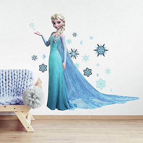 Appliques Decals Wall (Roommates Rmk2371Gm Frozen Elsa Peel And Stick Giant Wall Decals, 1-Pack)