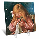 3dRose dc_169721_1 Jean Renoir Sewing, 1900 by Pierre-Auguste Renoir-Desk Clock, 6 by 6-Inch For Sale