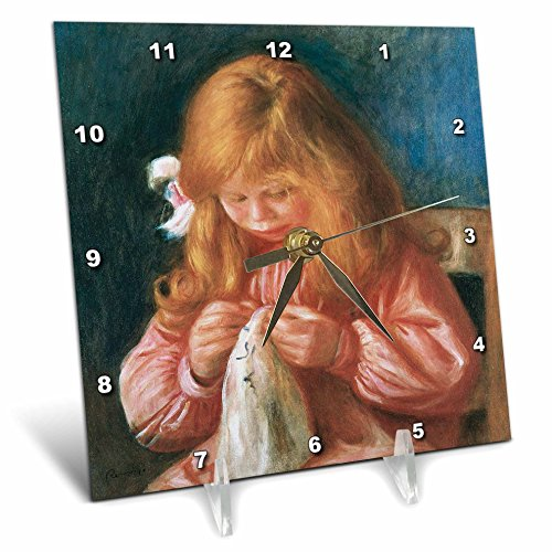 3dRose dc_169721_1 Jean Renoir Sewing, 1900 by Pierre-Auguste Renoir-Desk Clock, 6 by 6-Inch