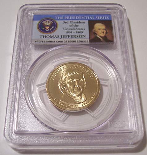 (2007 P Jefferson Presidential Weak Edge Lettering Error Dollar MS66 PCGS FDI)