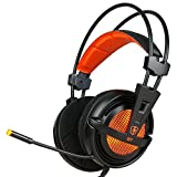 LETTON G7 3.5mm Jack Lightweight Stereo Gaming Headset Headphones for Pro PC Gamer with Microphone LED Light and Volume-Control Mute Botton(orange)