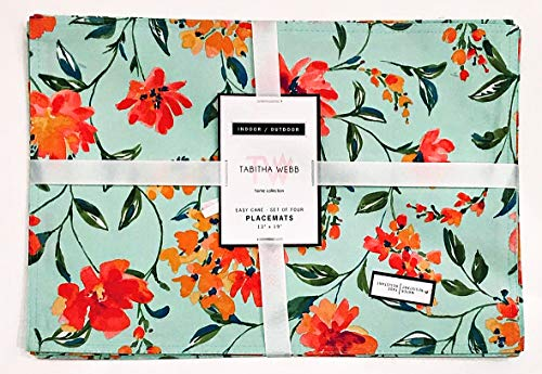 Tabitha Webb Watercolor Summer Floral Placemats (Set of 4) Indoor/Outdoor | 13