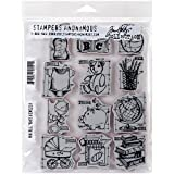 Stampers Anonymous Tim Holtz Cling Rubber Mini Blueprints No.8 Baby Stamp Set, 7 x 8.5''