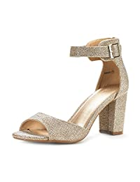 DREAM PAIRS HHER Women's Evening Dress Low Chunky Heel Open Toe Ankle Strap Stiletto Wedding Pumps Sandals