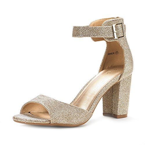 Dream Pairs Women's HHER Gold Glitter Low Heel Pump Sandals – 10 M US