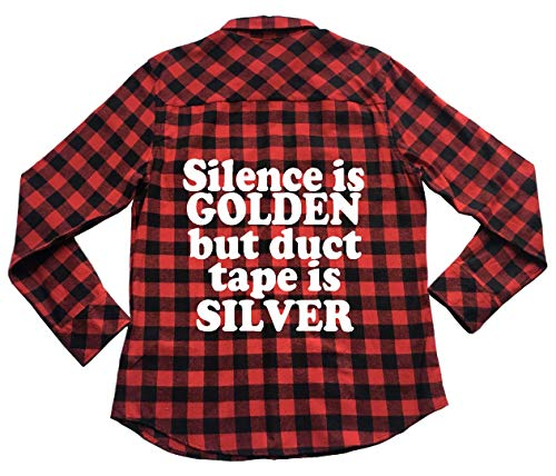 Silence Golden Duct Tape Silver - Unisex Plaid Flannel Shirt