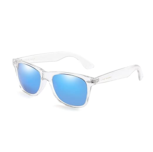 ad75b89907 LongKeeper Polarized Sunglasses Classic Square Transparent Frame Glasses  for Men Women (Transparent Blue)