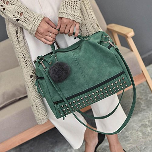 Shoulder Bag Straps Handbag Handbags Bag Zipper Satchel Large Rivet Tote Travel PU Bag Women Handbag Women Shoulder Fashion Handle Two Shoulder Women Soft Morwind Bag Green for 514Anz