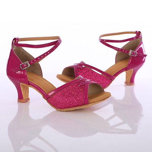 Q Customized T Paillette Fuchsia Heel Dance Heels Shoes Sneakers Women's Fuchsia T 6pqpRg