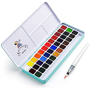 MeiLiang Watercolor Paint Set, 36 Vivid Colors in Pocket Box with Metal Ring and Bonus Watercolor Brush, Perfect for Students, Kids, Beginners and More
