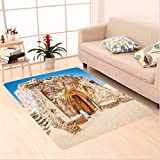 Nalahome Custom carpet xy One of Abandoned Sets of the Movie in Tunisia Desert Phantom Galaxy Wars Themed es Brown Blue area rugs for Living Dining Room Bedroom Hallway Office Carpet (32.4''x118'')