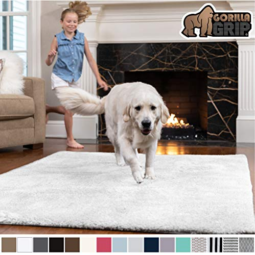 Gorilla Grip Original Faux-Chinchilla Area Rug, 7.5x10 Feet, Super Soft and Cozy High Pile Washable Carpet, Modern Floor Rugs, Luxury Shag Carpets for Home, Nursery, Bed and Living Room, White (Soft Rug White Super)