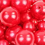 Koyal Wholesale 80 Piece Floating Pearl Beads In Transparent Water Gels, Wedding Floating Candle Centerpieces (Red)