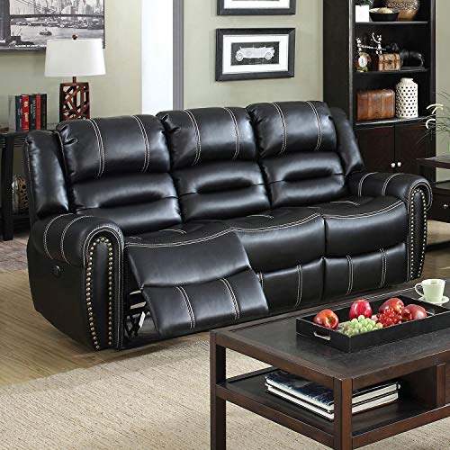 (Furniture of America Dylan Black Leather Power-Assist Reclining Sofa)