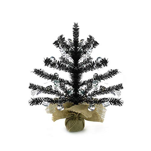 17''Artificial Mini Tinsel Christmas Trees with Burlap Wrapped Base,Black Tabletop Fake Xmas Halloween Tree with Reflective Sequins and Shiny Skull for Halloween or Home Holiday Party Decor (Skull)