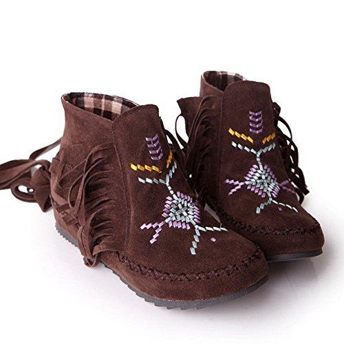 VogueZone009 Damen Gemischte Farbe Niedriger Absatz Nubukleder Ziehen auf Stiefel Dunkelbraun
