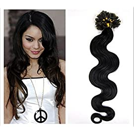 Remeehi New Arrival Body Wavy 100% Remy Nail U Tip Keratin Human Hair Extensions 1g/s 100 Strands 15 Inch 1# Jet Black