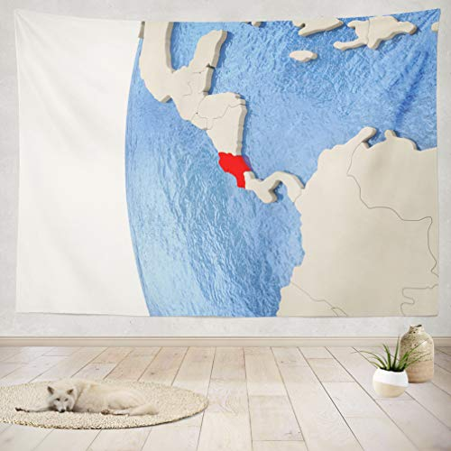 (ASOCO Tapestry Wall Handing Map Globe with Blue and with Country Borders Borders Country Globe Map Model Wall Tapestry for Bedroom Living Room Tablecloth Dorm 60X80 Inches)