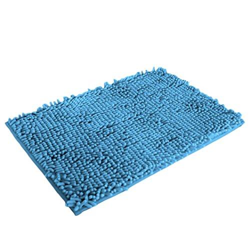 Soft Shaggy Non Slip Absorbent Bath Mat Bathroom Shower Rugs Carpet (Light Blue)
