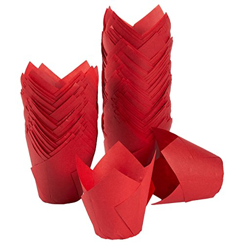 Tulip Cupcake Liners, 150 Pack, Medium - Baking Cups - Muffin Wrappers - Perfect for Bakeries, Catering, Restaurants, Red