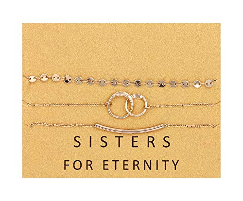 Double Chain Circle Link (Zealmer Sisters for Eternity Coin Double Circles Link Curved Tube Bracelets Set Gift for Sisters Friends)