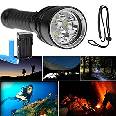 1Pc Greatest Popular 3x LED 100m Diving Flashlight 6000Lm Shock Proof Underwater Tactical Light Color Black with Battery Charger