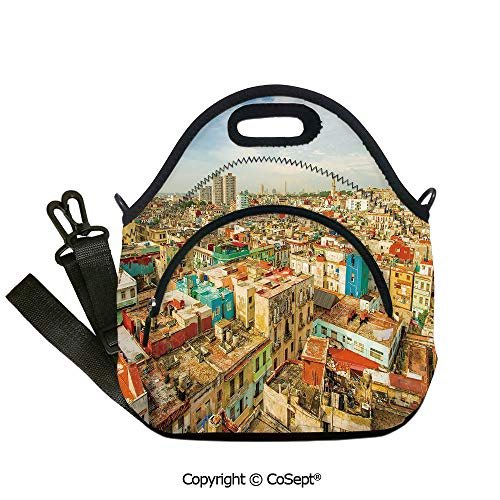 Portable lunch bag,Panorama of Havana City Vedado District in Cuba Old Colorful Houses Historic Decorative,with Detachable Adjustable Shoulder Strap(12.59x6.29x12.59 inch) Multicolor
