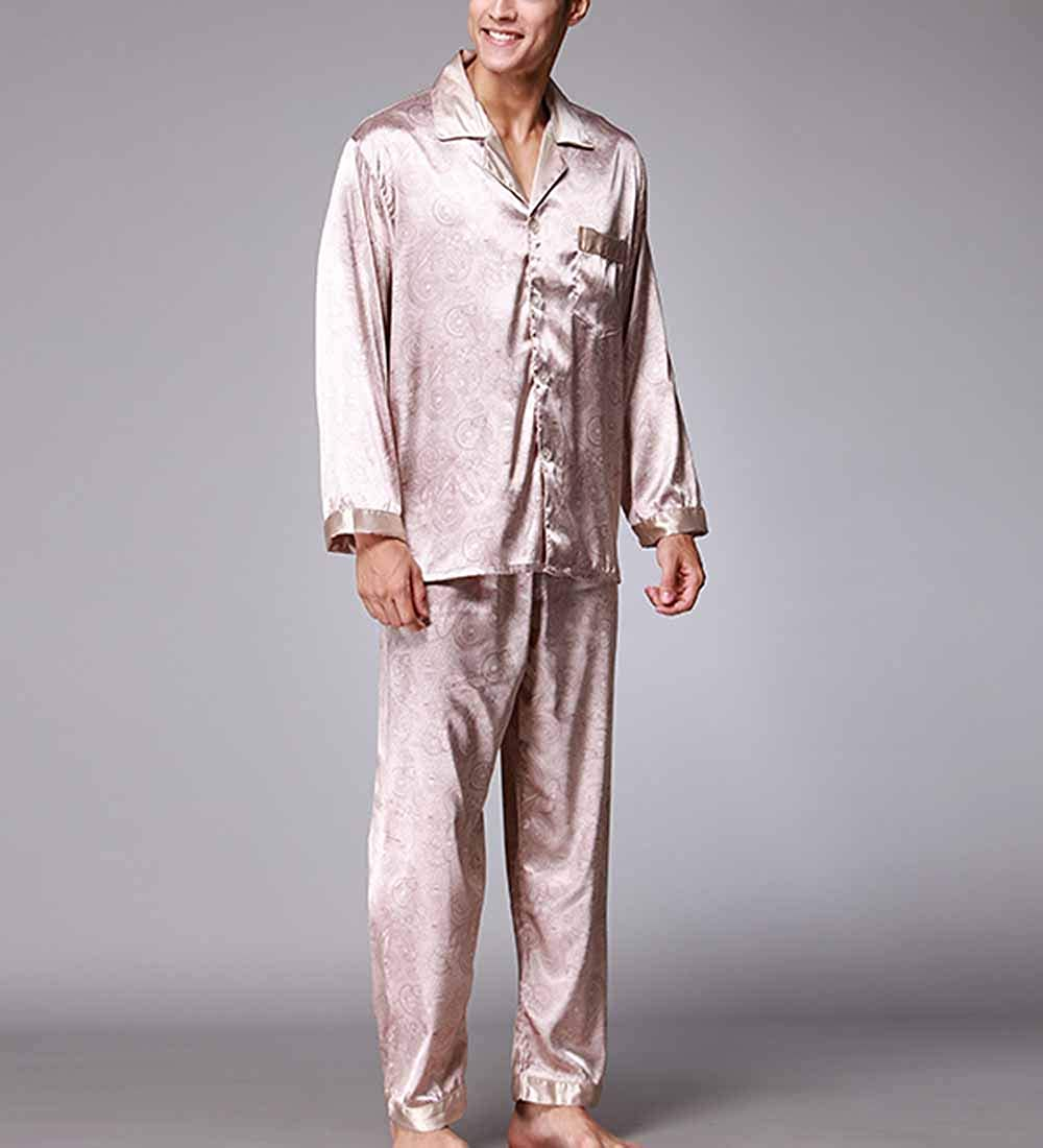 919287485 CX-Store Men Nightwear Silky Satin Printed Long Sleeve Button Down Pyjamas  Sleepwear Set: Amazon.co.uk: Clothing