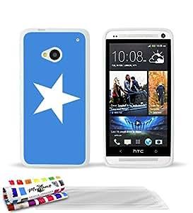 """Carcasa Flexible Ultra-Slim HTC ONE / M7 de exclusivo motivo [Bandera Somalia] [Blanca] de MUZZANO  + 3 Pelliculas de Pantalla """"UltraClear"""" + ESTILETE y PAÑO MUZZANO REGALADOS - La Protección Antigolpes ULTIMA, ELEGANTE Y DURADERA para su HTC ONE / M7"""