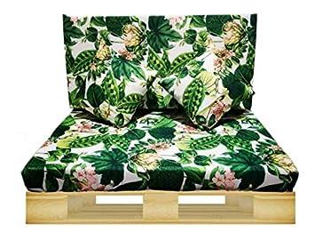 Gbla Colchon y Respaldo de Espuma para Sofá de Palet Enfundado en Tejido Envio 24H (Verde Flor)