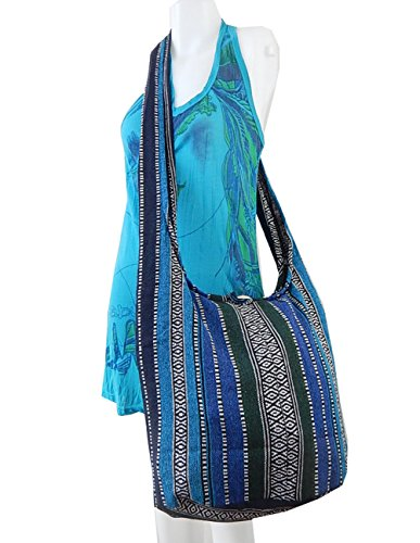 BTP! Thai Cotton Sling Bag Purse Crossbody Messenger Hippie Hobo Hand Woven Ikat (Multicolor (Hand Woven Bag)
