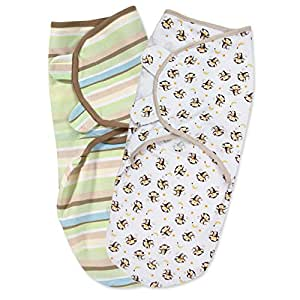Summer Infant 2 Pack Cotton Knit Swaddleme, Wave (Small/Medium)